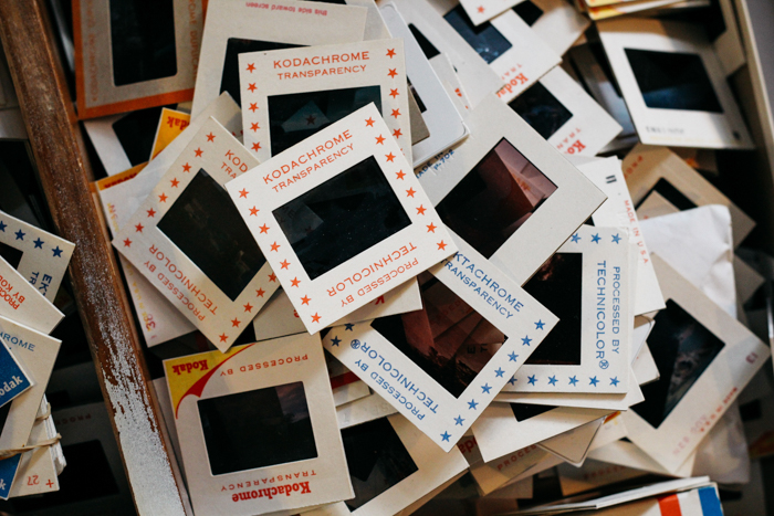 A pile of different photo slides