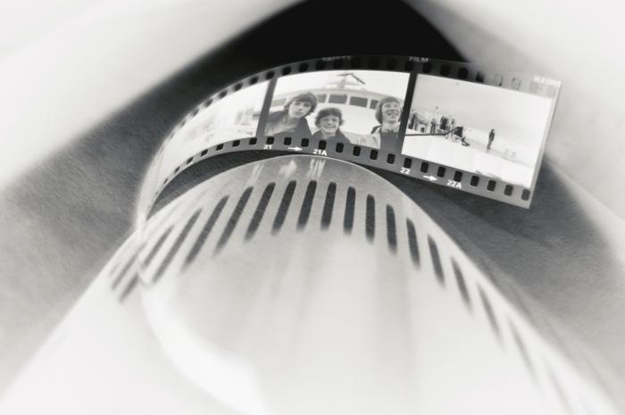 Artistic black and white shot of film negatives