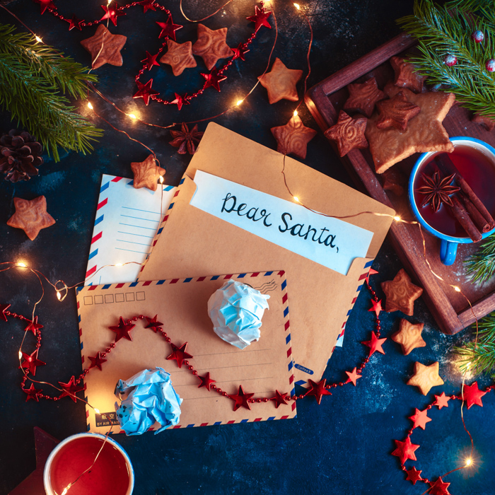 A magical still life surrounded a letter to santa, with Christmas lights in the background
