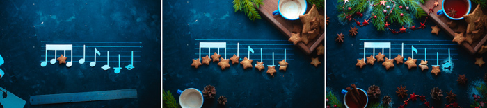 Triptych showing the process of setting up a magical Christmas still life including music notes, cookies and Christmas lights