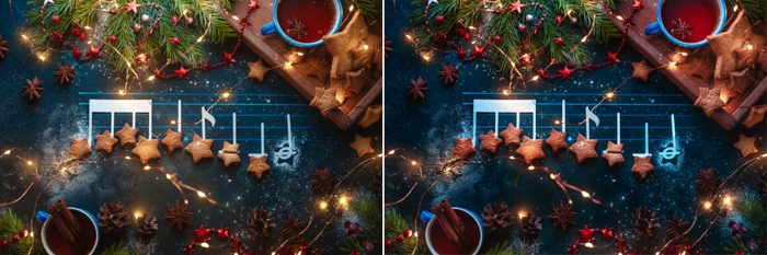 A magical Christmas still life diptych including music notes, cookies and Christmas lights