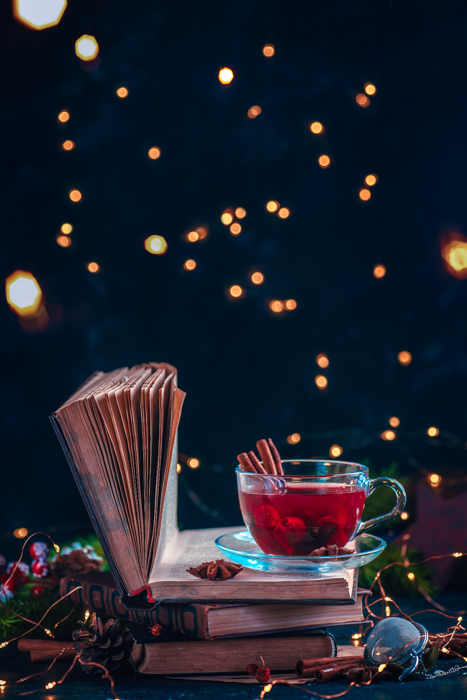 A magical still life with bokeh Christmas lights background
