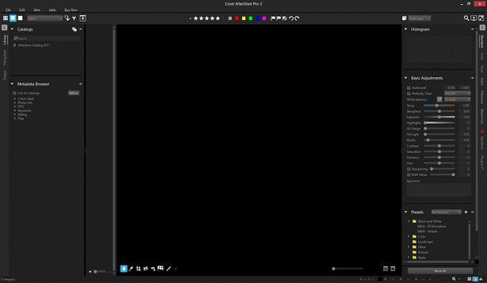 A screenshot of Corel After Shot Pro 3 interface