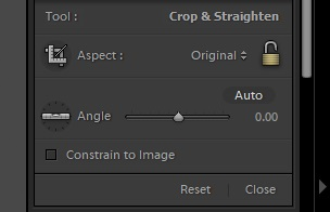 A screenshot of using the crop tool in Lightroom