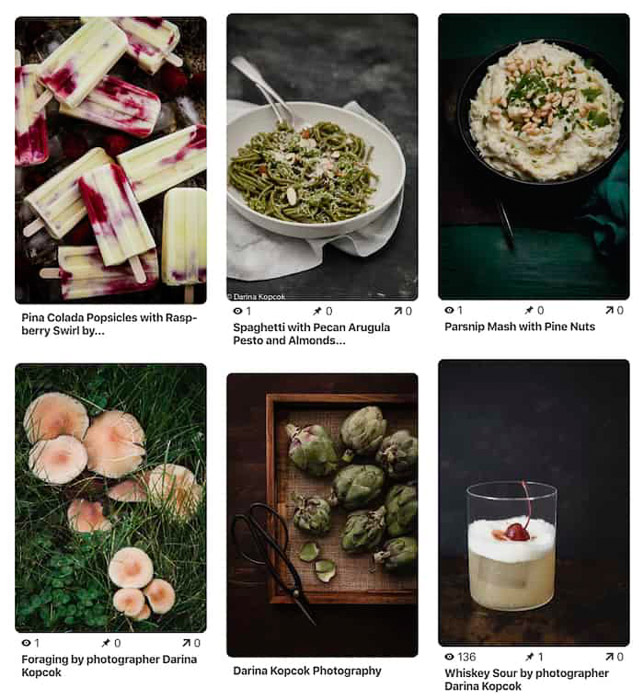 An example of a food photography moodboard