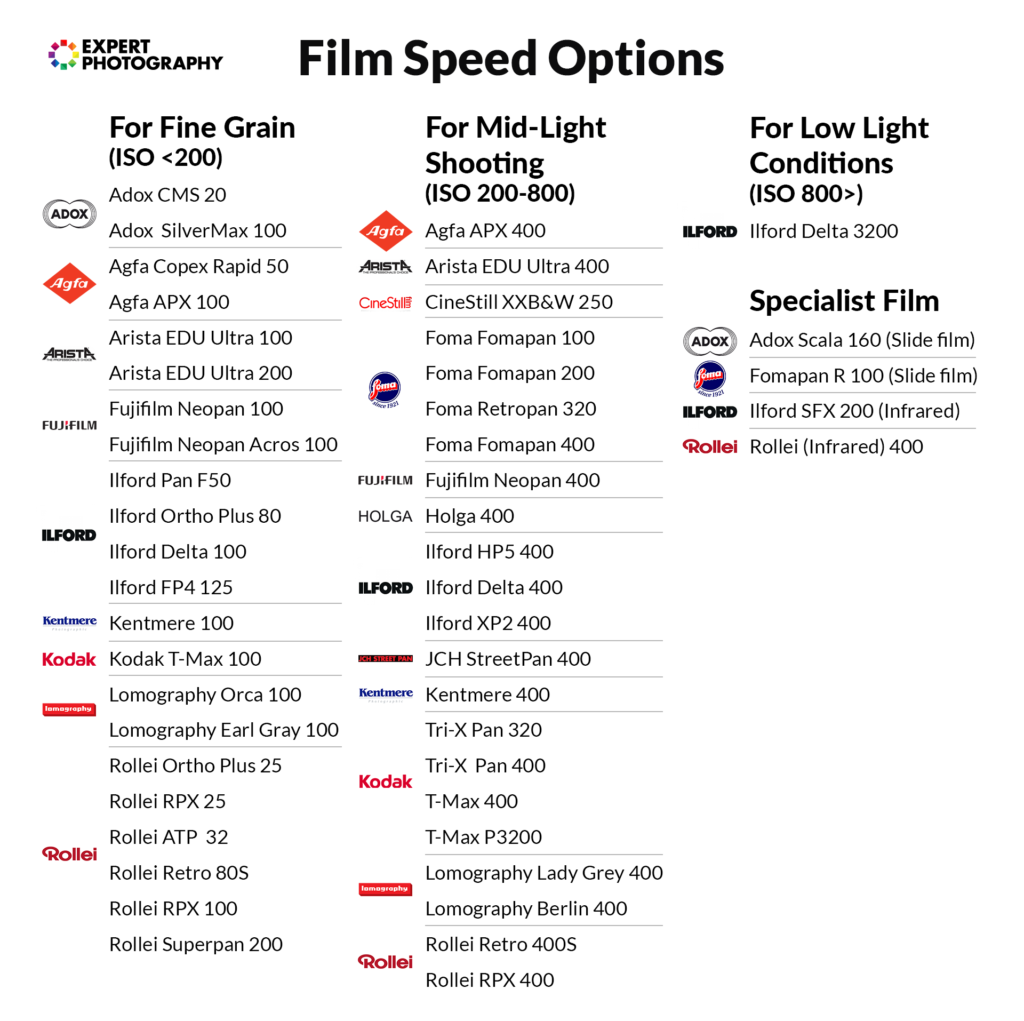 Table listing film speed options in three categories: for fine grain, for mid-light shooting and for low light conditions.