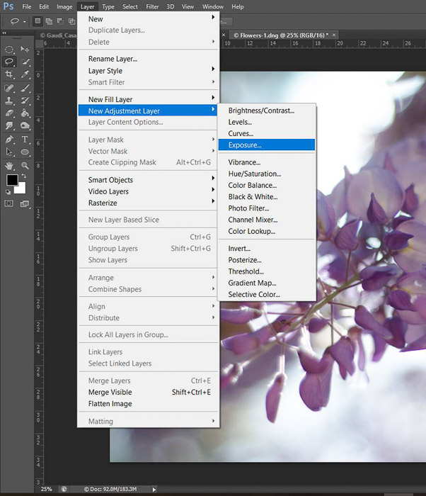 a screenshot showing how to edit photos in Photoshop for beginners - new adjustment layer