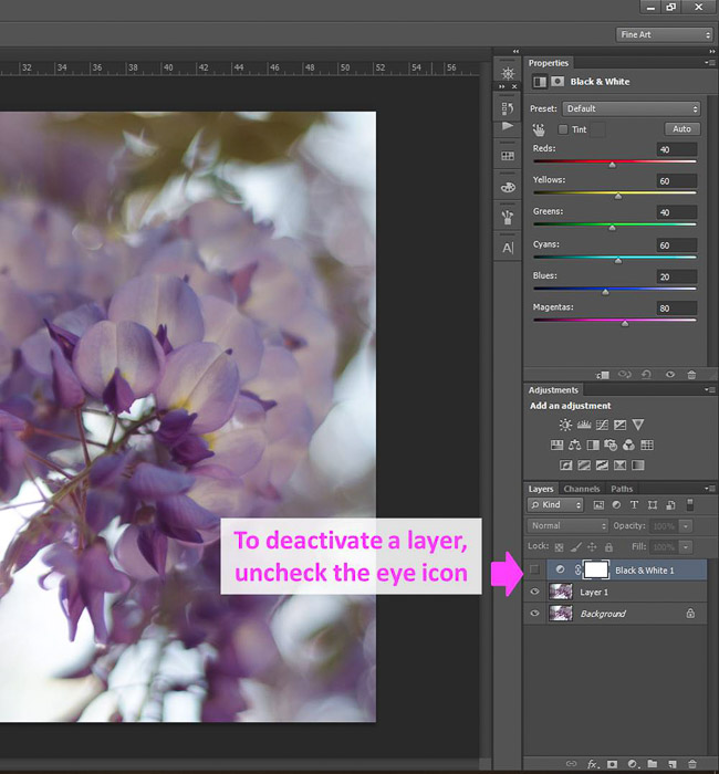 a screenshot showing how to edit photos in Photoshop for beginners, with an arrow pointing to deactivate layer