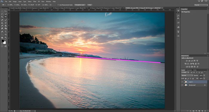 a screenshot showing how to edit photos in Photoshop for beginners - drawing a straight line