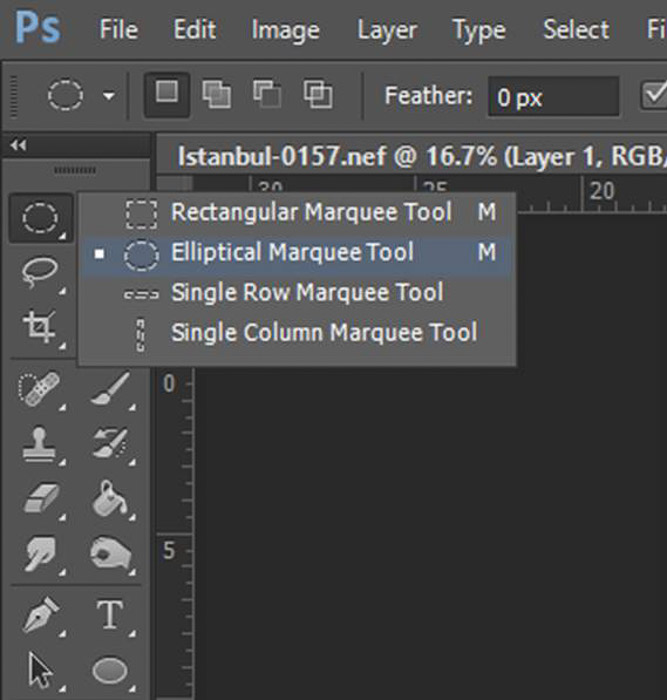 a screenshot showing how to select the marquee tool in Photoshop