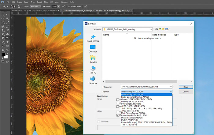 a screenshot showing how to save a photo in Photoshop