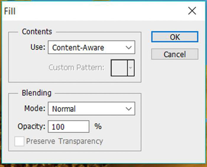 a screenshot showing how to use content aware in Photoshop