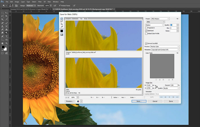 a screenshot showing how to edit the quality of a file in Photoshop