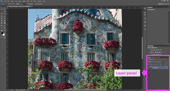 a screenshot of opening the layers panel in Photoshop
