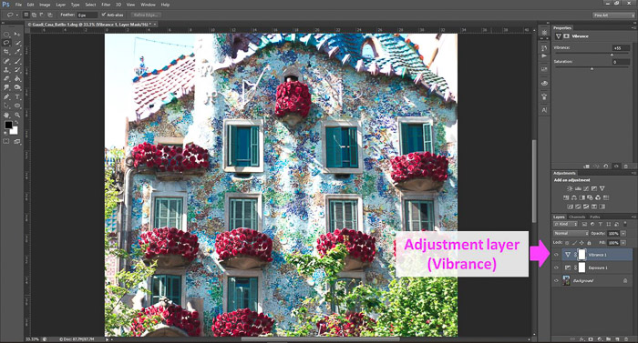 a screenshot showing how to edit photos in Photoshop for beginners, with an arrow pointing to Adjustment layer (vibrance)