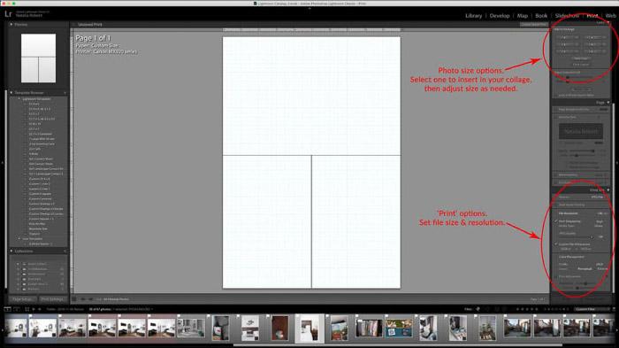 Una captura de pantalla que muestra cómo crear un collage de plantillas de Lightroom