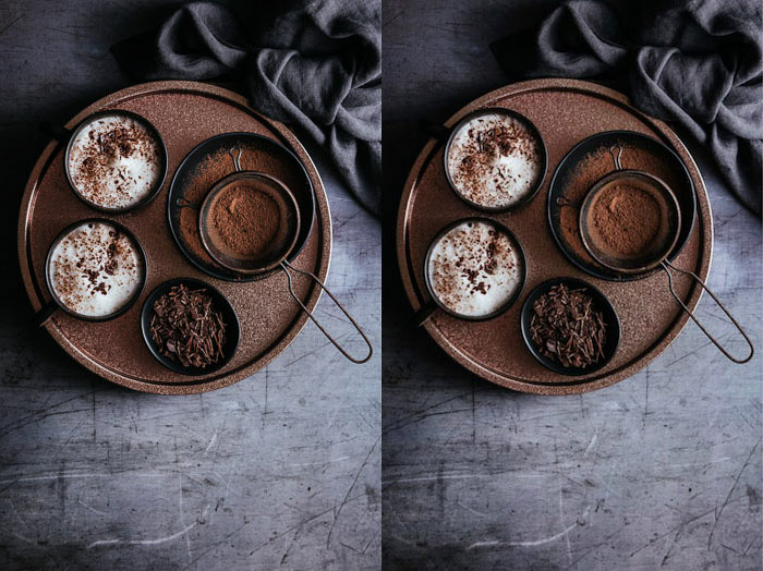 A food image diptych comparing before and after photo of an image resized for Facebook