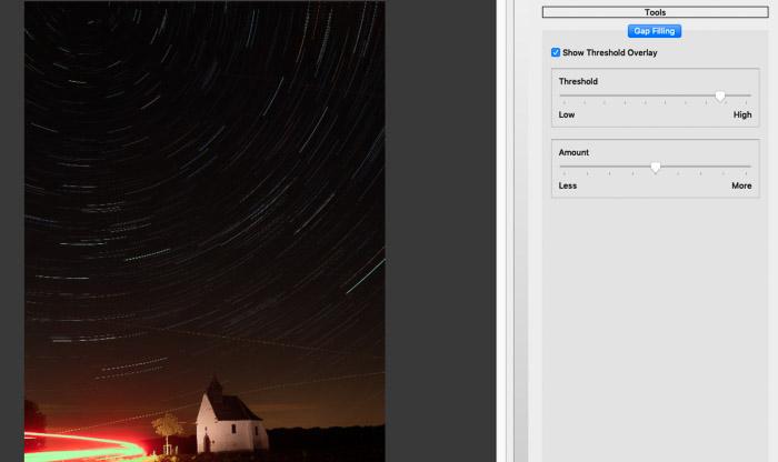 Screenshot of using blending modes in StarStax software