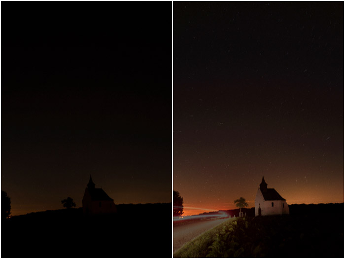 Diptych comparing the results of averaging 10 images (left) compared with Averaging+increasing exposure (1EV) for the same set of images (right).