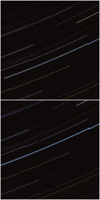 A diptych close up of startrails processed with StarStax