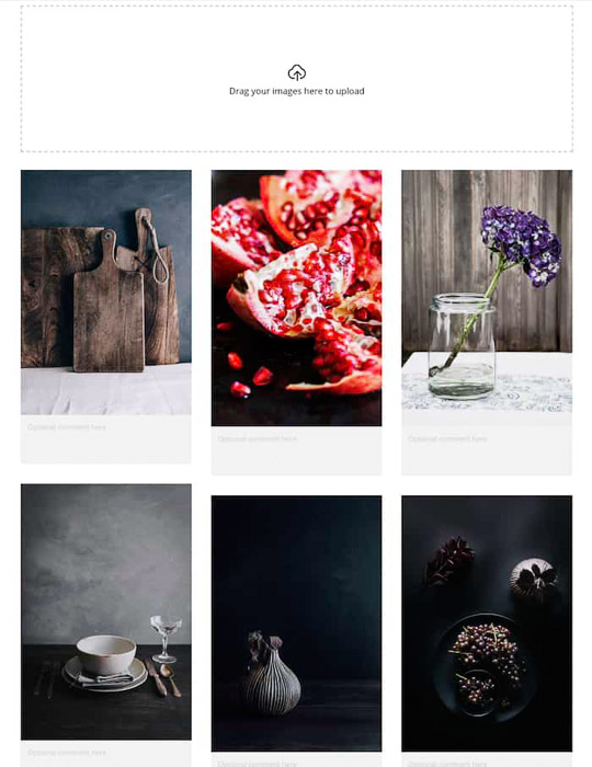 A food photography moodboard example
