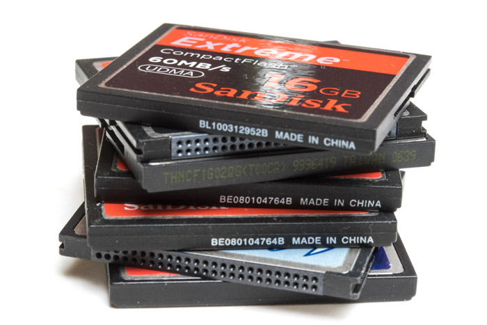Photo of a stack of CF cards used in taking time lapse photos