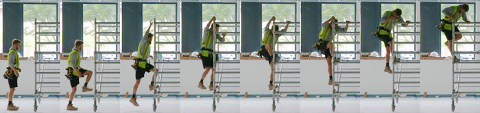 Time lapse photography of a workman climbing a ladder