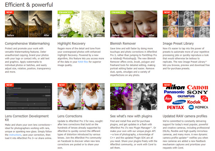 AfterShot Pro 3 review - screenshot from the homepage showing the various advantages of the photo editor
