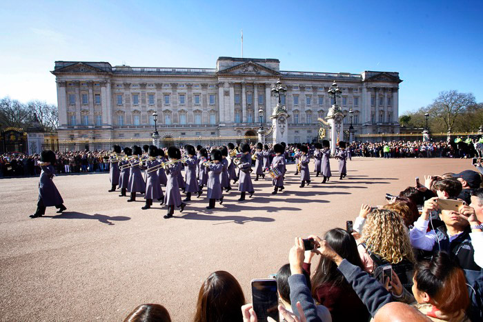 the changing of the guard outside Buckingham palace - photography in London