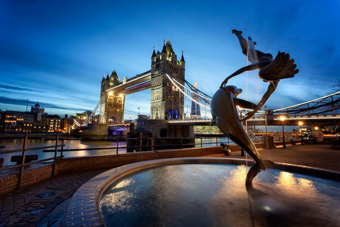 Tower bridge in London at evening time