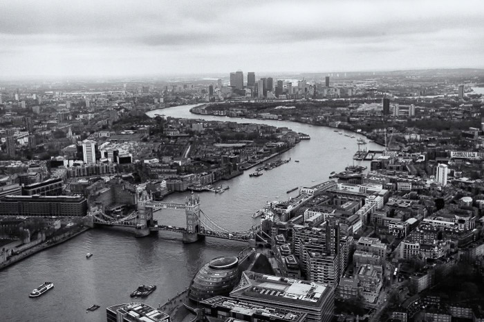 An aerial view of London city - best photo spots in London