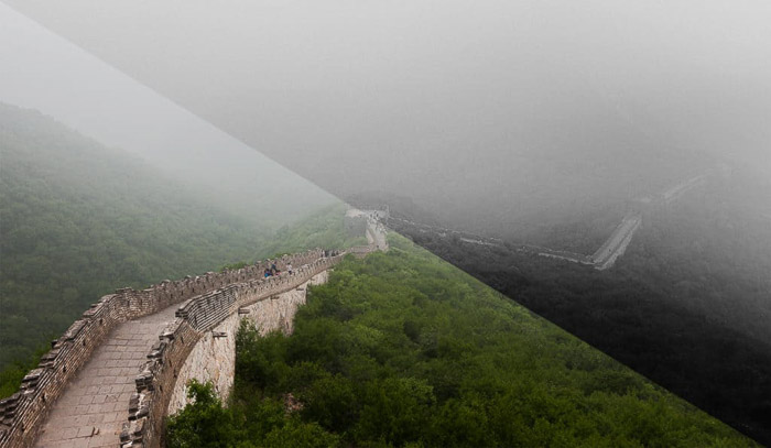 A photo of the Great Wall of China, split in half to compare black and white vs color photography