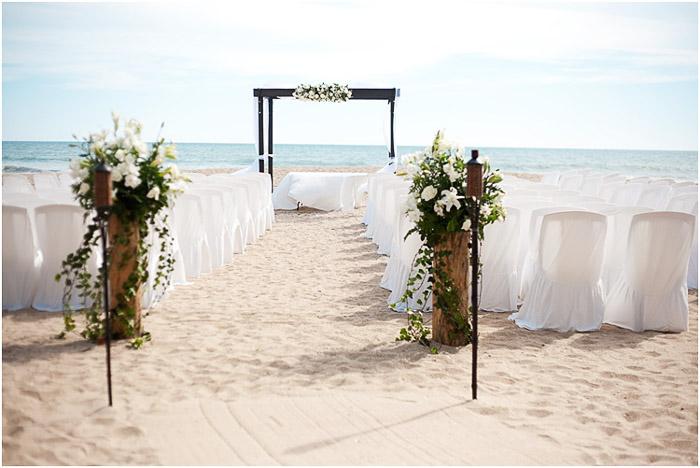 The setup of a beautiful beach wedding