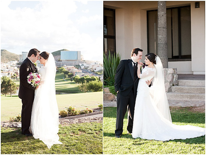 Destination wedding photography diptych of the couple posing outdoors