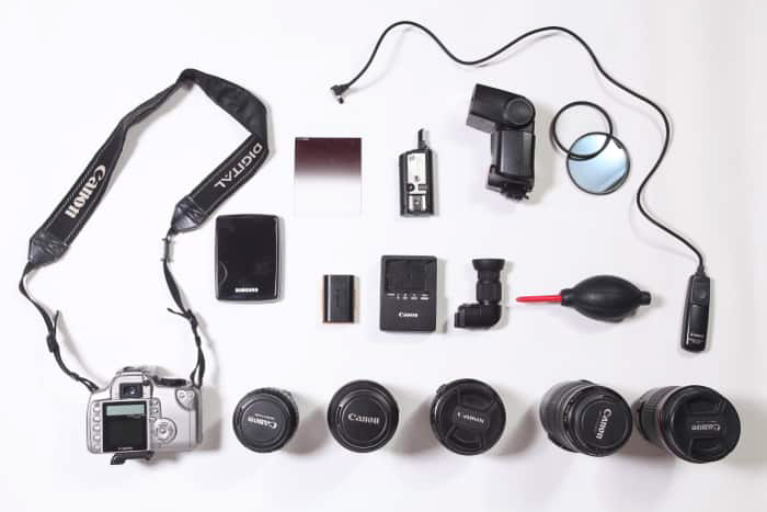 A flay lay photo of car photography equipment