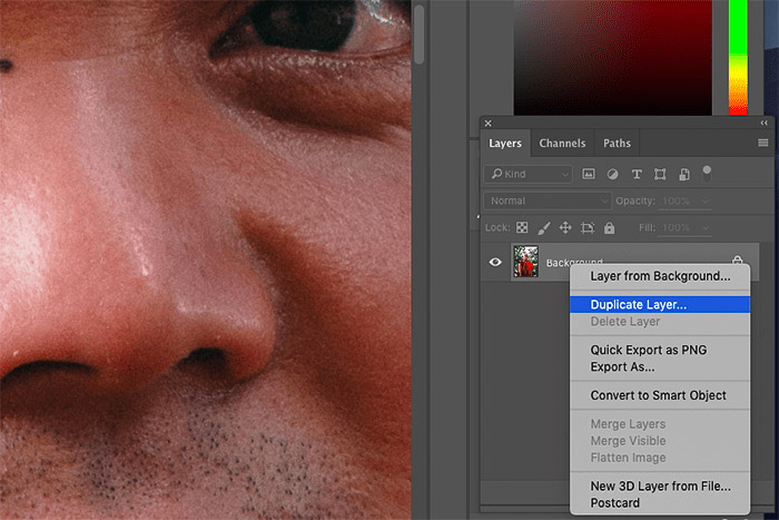 A screenshot of how to remove skin imperfections with Photoshop clone stamp tool