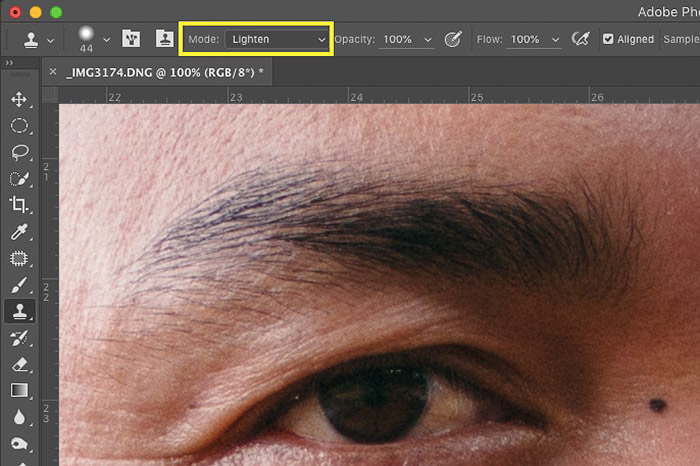 A screenshot of how to remove skin imperfections with Photoshop clone stamp tool - lighten