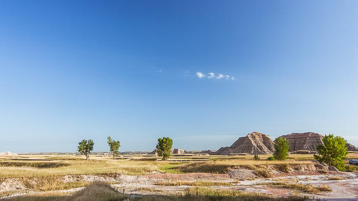 A desert landscape image on a clear day shot with a wide angle lens