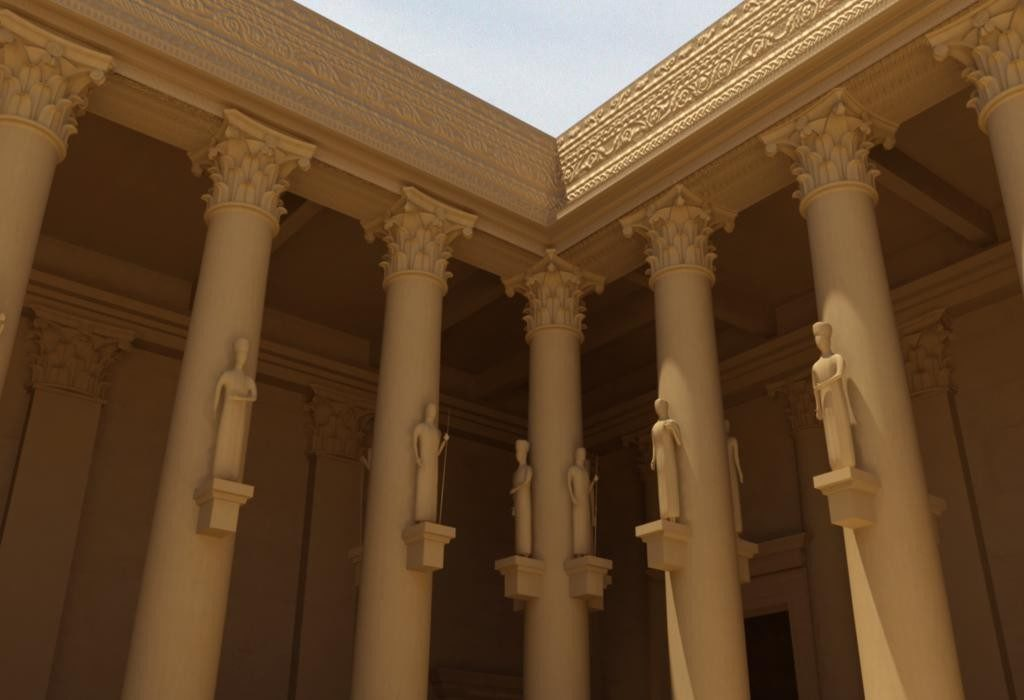 An impressive 3D model of columns outside a classical building created with photogammetry