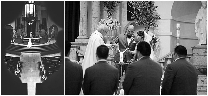 A black and white wedding photo diptych of the service in progress