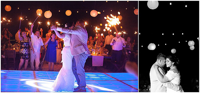 Destination wedding photography diptych of the newlywed couple dancing in color and black and white