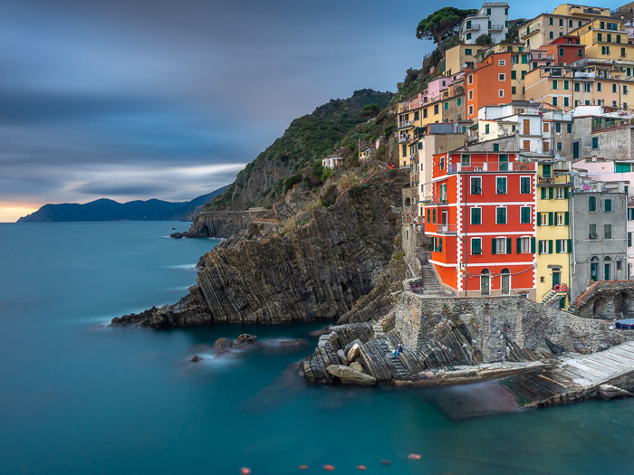 The beautiful coastal landscape of Riomaggiore with a bunch of colours