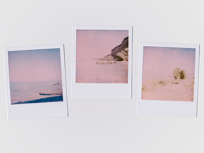 Three Polaroid photos with a washed out effect, pink highlights, and blue shadows. filmic photography.
