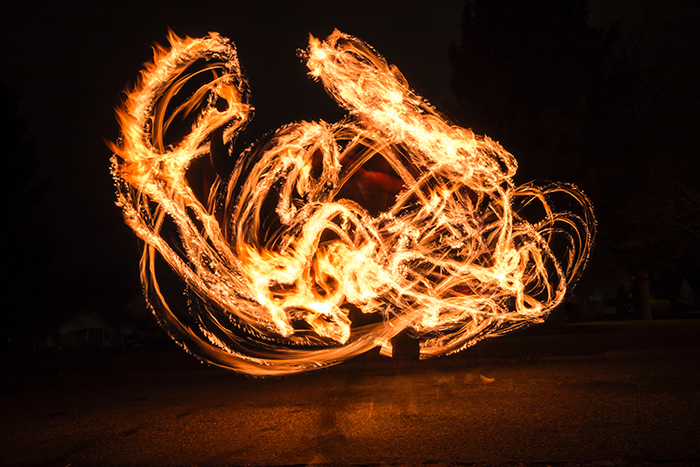 A fire painting photograph at night - pictures of flames
