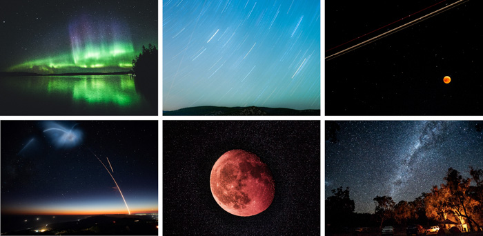 An astrophotography montage created with cool free photoshop templates