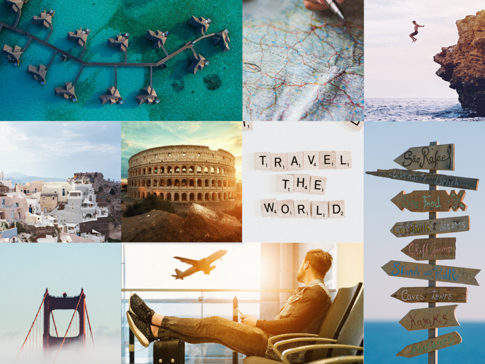 A travel photography montage created with cool free photoshop templates