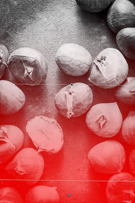Screenshot of editing a flat lay food photo of chestnuts - using lightroom shortcuts