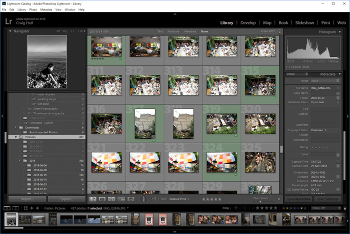 A screenshot of organising the library in Adobe Lightroom
