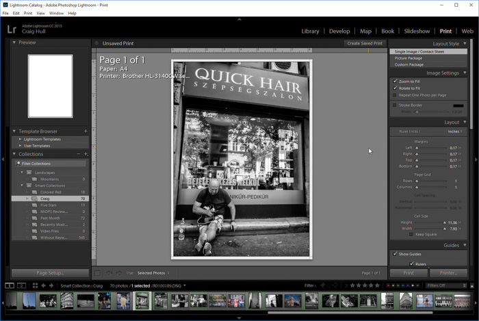 A screenshot of editing street photography in Adobe Lightroom