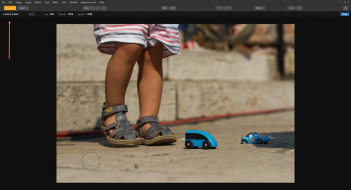 A screenshot of editing a photo with Skylum's Luminar photo editor